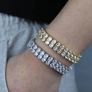 Diamond CZ Double Row 10mm Tennis Bracelet I Gold + Silver Tennis Bracelet
